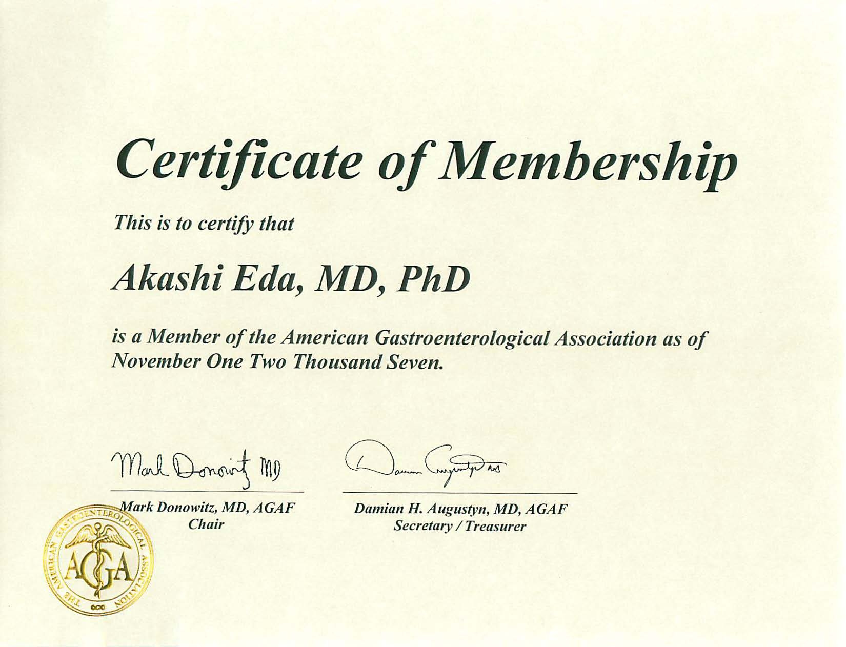 米国消化器病学会(AGA;American Gastroenterological Association)国際会員( International Member)
